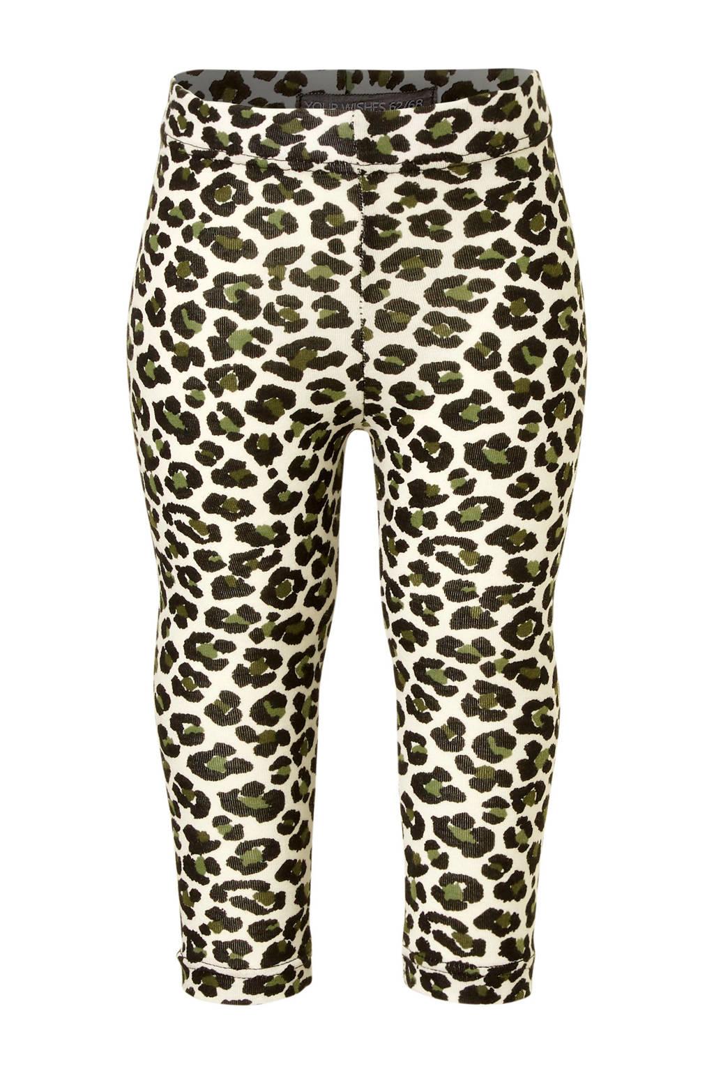 Your Wishes legging met panterprint wit, Wit/zwart/kaki