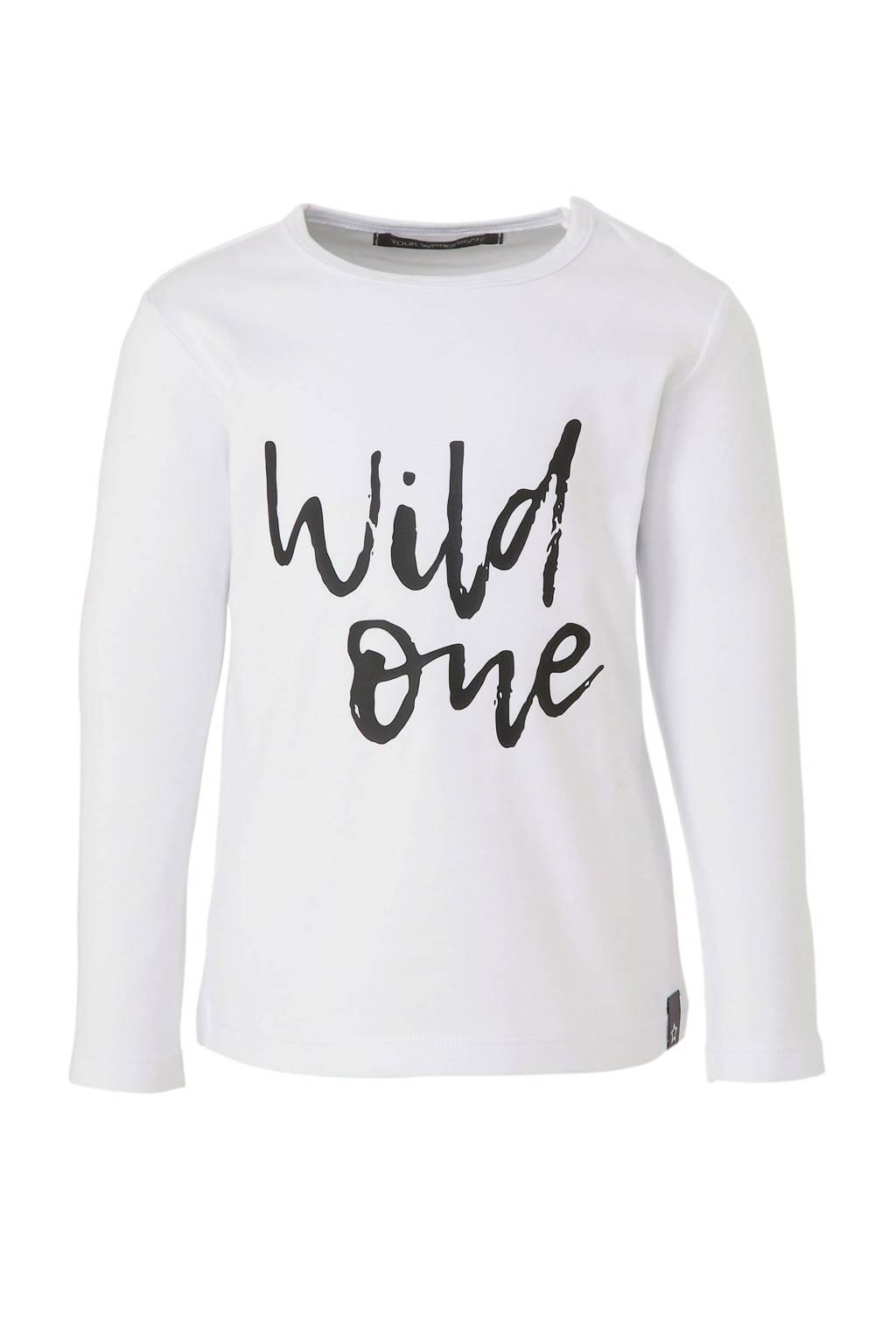 Your Wishes longsleeve met tekstprint wit, Wit/zwart