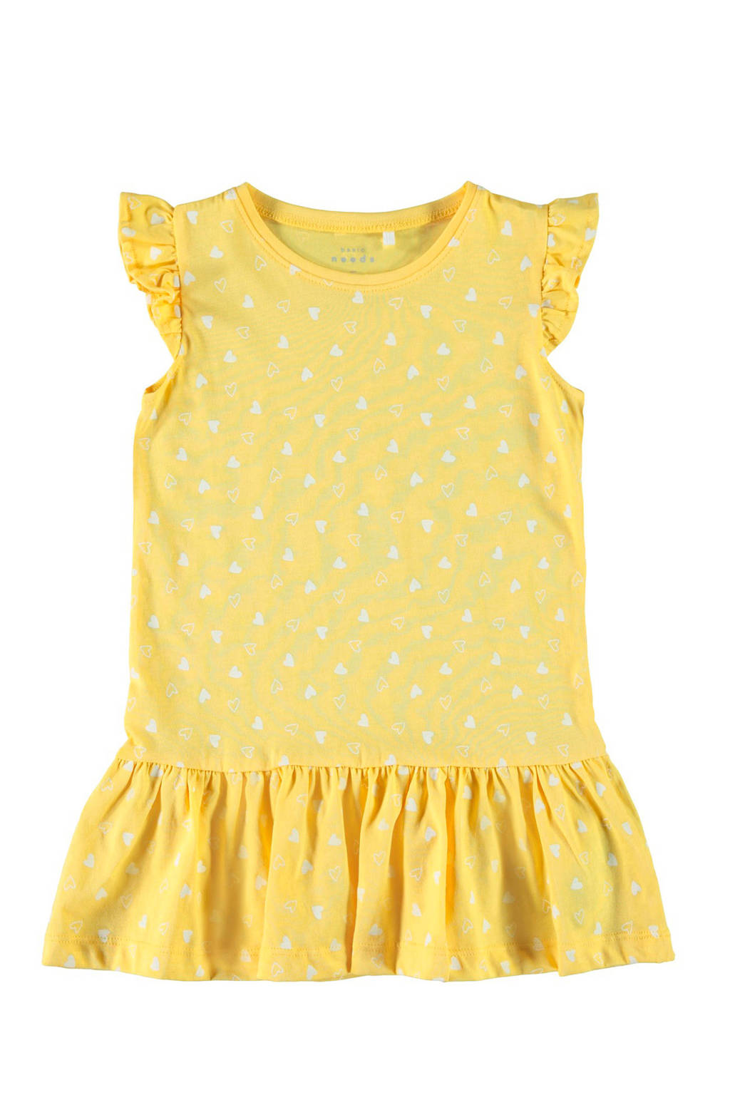 NAME IT jurk Vida met hartjes geel, Pale Marigold