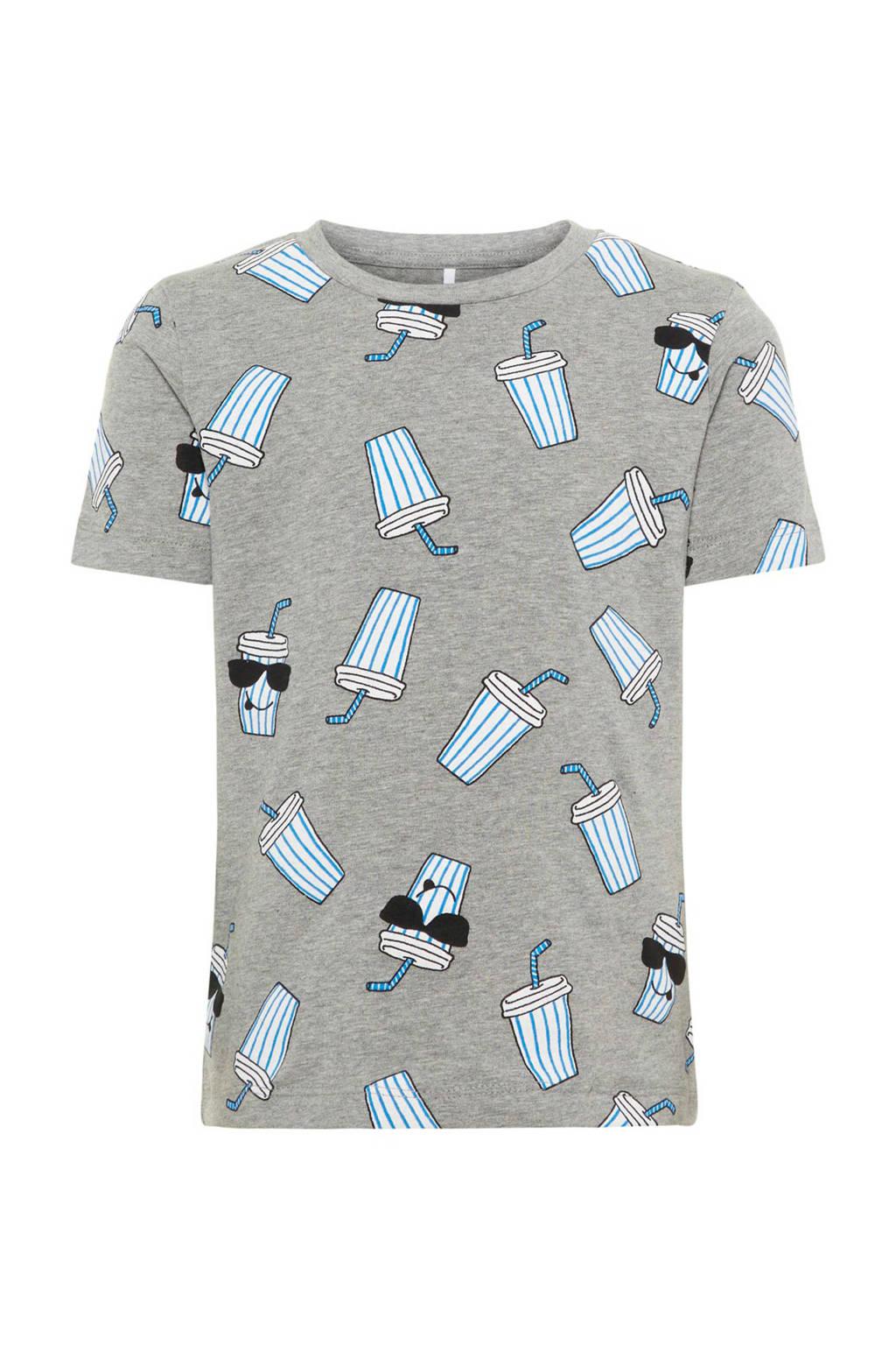 name it T-shirt Darasmus met all over print lichtgrijs melange, Grijs melange