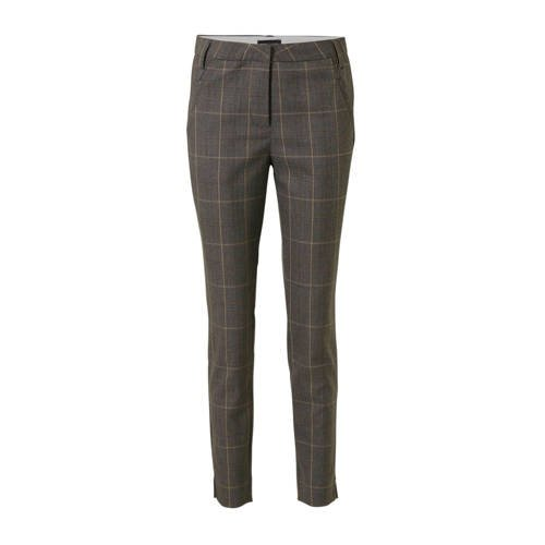 FREEQUENT geruite tapered fit pantalon donkergrijs