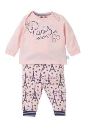 baby pyjama met print roze/blauw