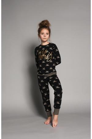 pyjama met all over print en tekst zwart/zand