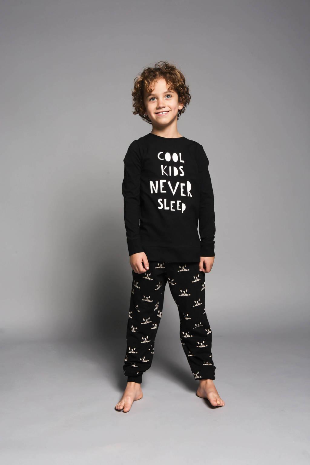 Charlie Choe   pyjama met printopdruk zwart/zand, Zwart/zand