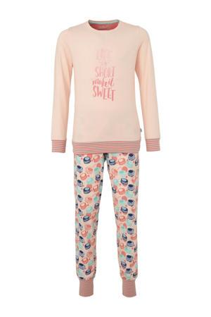 pyjama met print zalmroze