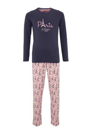 pyjama met print donkerblauw/roze