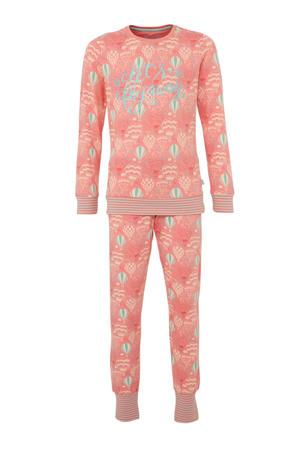 pyjama met all over print donker zalmroze