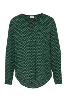 blouse met grafische print groen