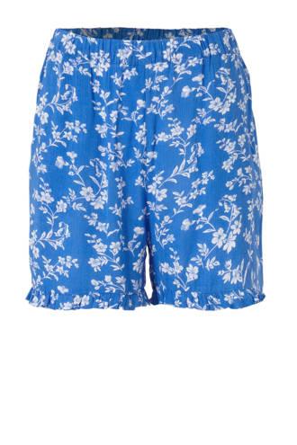 gebloemde regular fit short blauw/wit