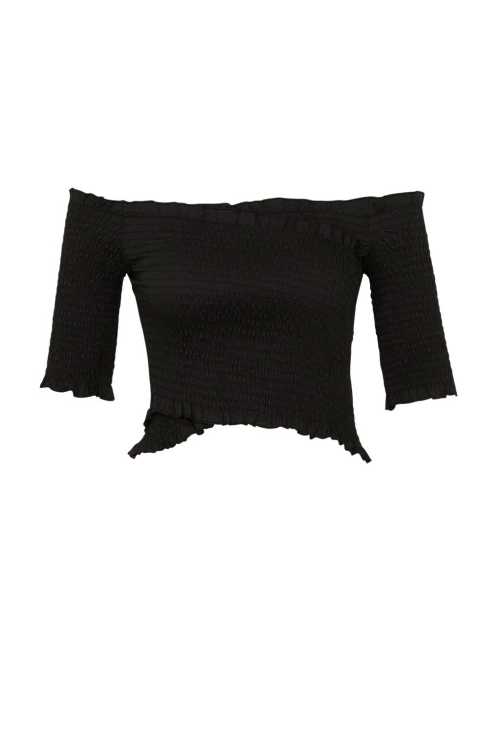 NA-KD off shoulder top zwart, Zwart