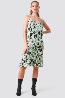 jurk met all over print lichtgroen