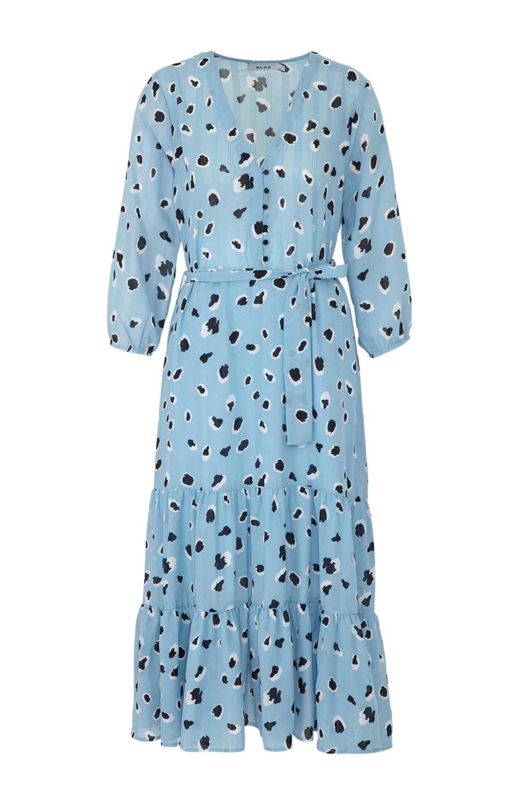 NA-KD jurk met panterprint en volant blauw, Blauw/zwart/wit