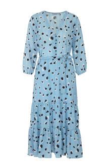 jurk met panterprint en volant blauw