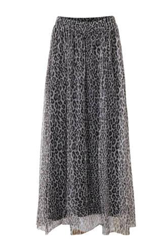 rok met panterprint en mesh grijs