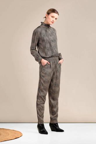 slim fit broek met all over print bruin/beige