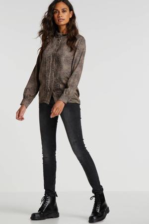 blouse met all over print en ruches zwart/bruin