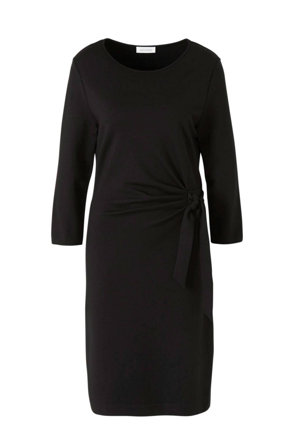 alchemist jersey jurk met ceintuur zwart, Zwart