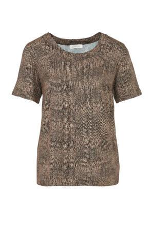 T-shirt met all over print zwart/beige