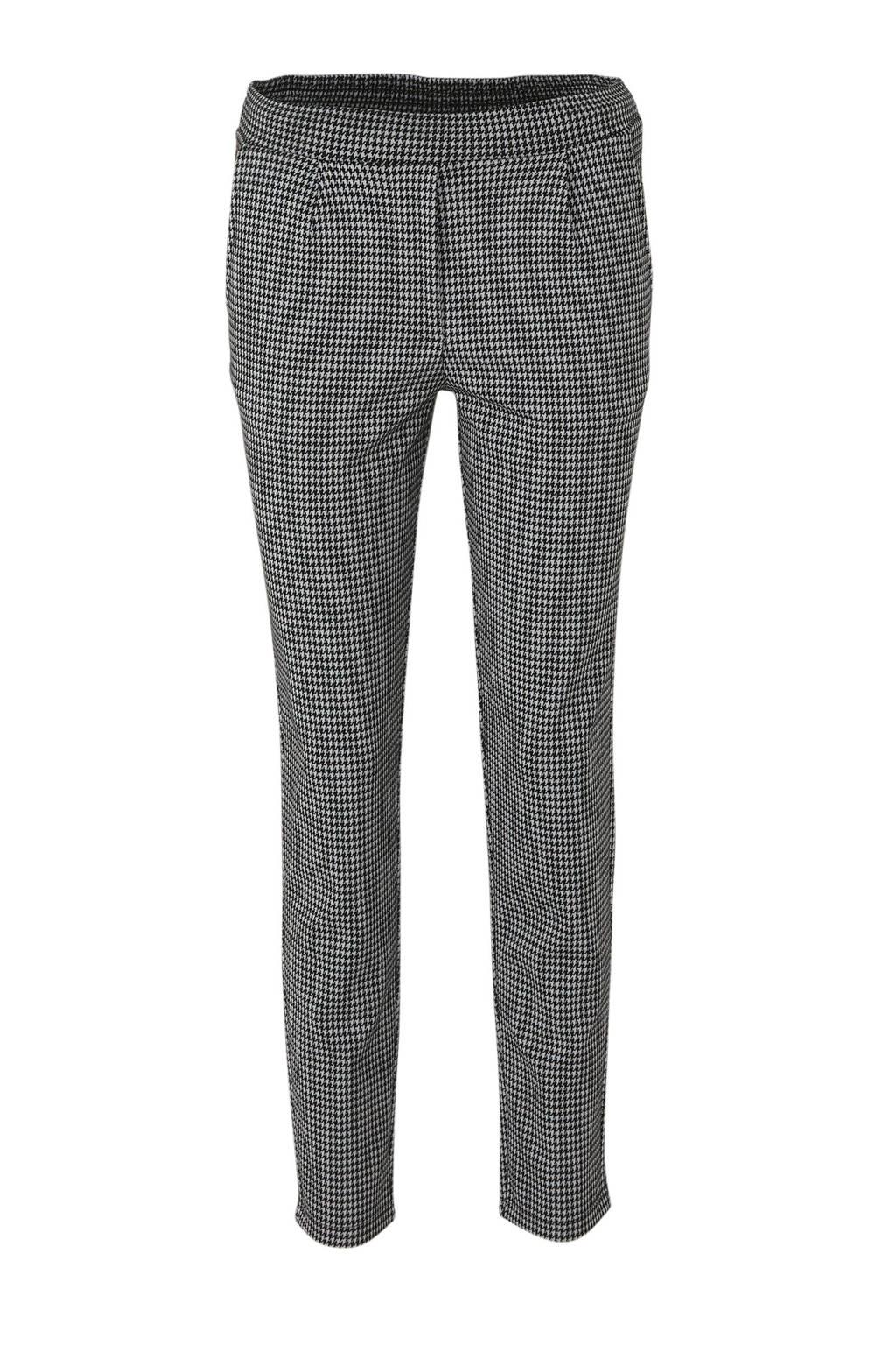 JACQUELINE DE YONG slim fit broek met all over print donkerood multi, Zwart/wit