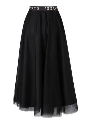 semi-transparante rok met contrastbies zwart/wit/goud