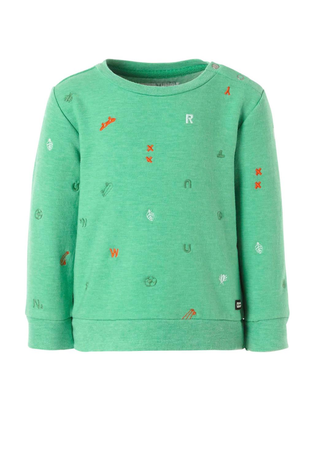 Tumble 'n Dry Lo sweater Adal met opdruk groen, Groen/rood