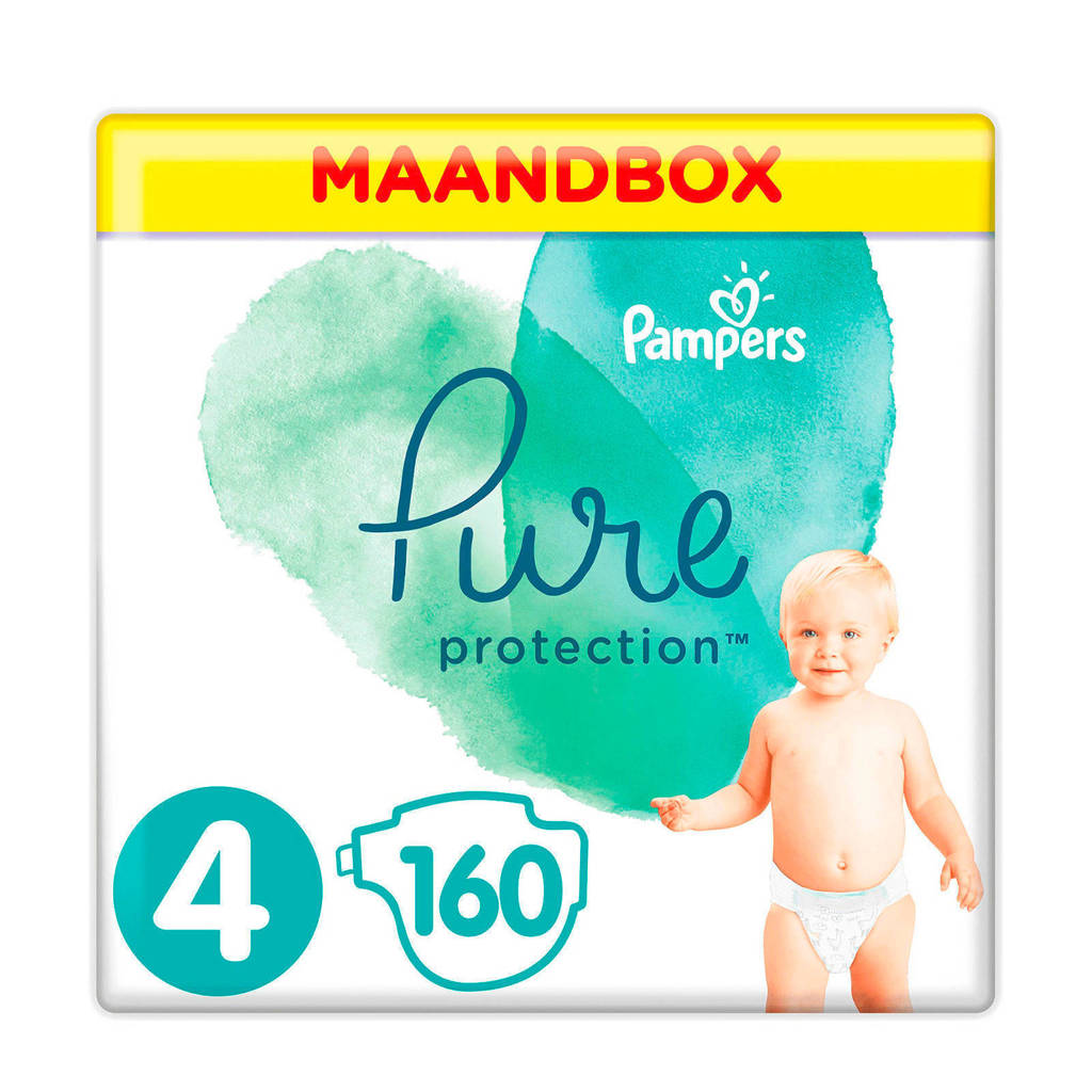 Pampers Pure Protection maandbox maat 4 (9-14 kg) 160 luiers