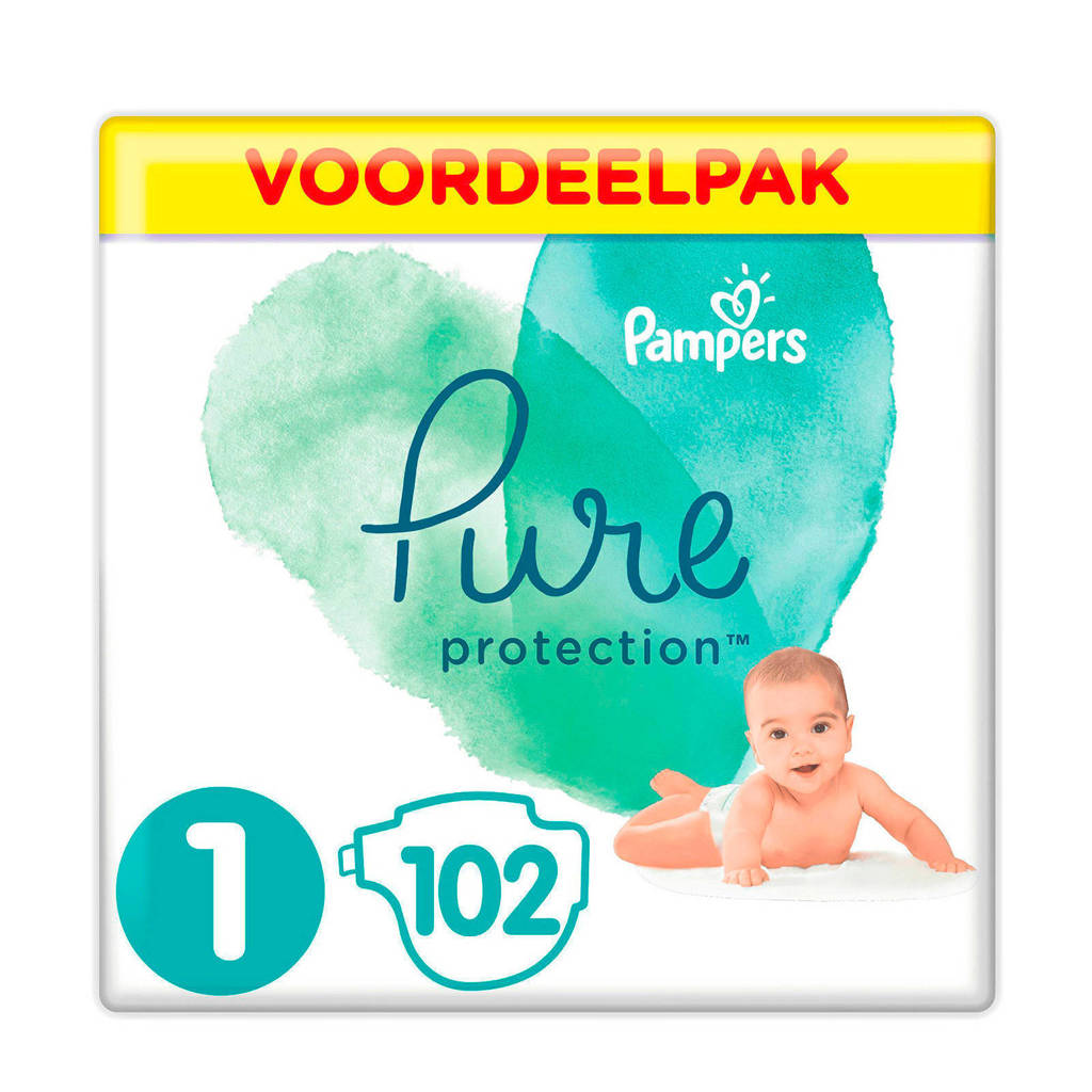 Pampers Pure Protection voordeelpak maat 1 (2-5kg) 102 luiers, 1 (2-5 kg)