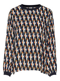 JACQUELINE DE YONG top met all over print donkerblauw, Donkerblauw/multi