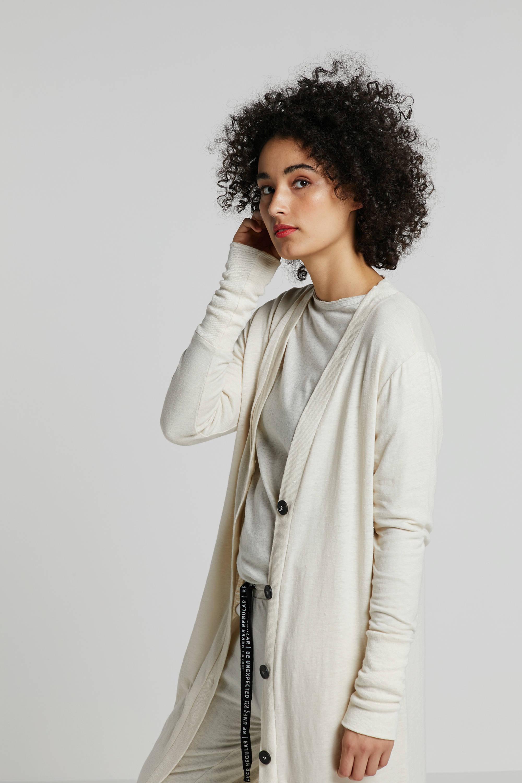 10DAYS vest met linnen wit