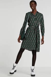 JACQUELINE DE YONG blousejurk met grafische print en ceintuur zwart, Zwart