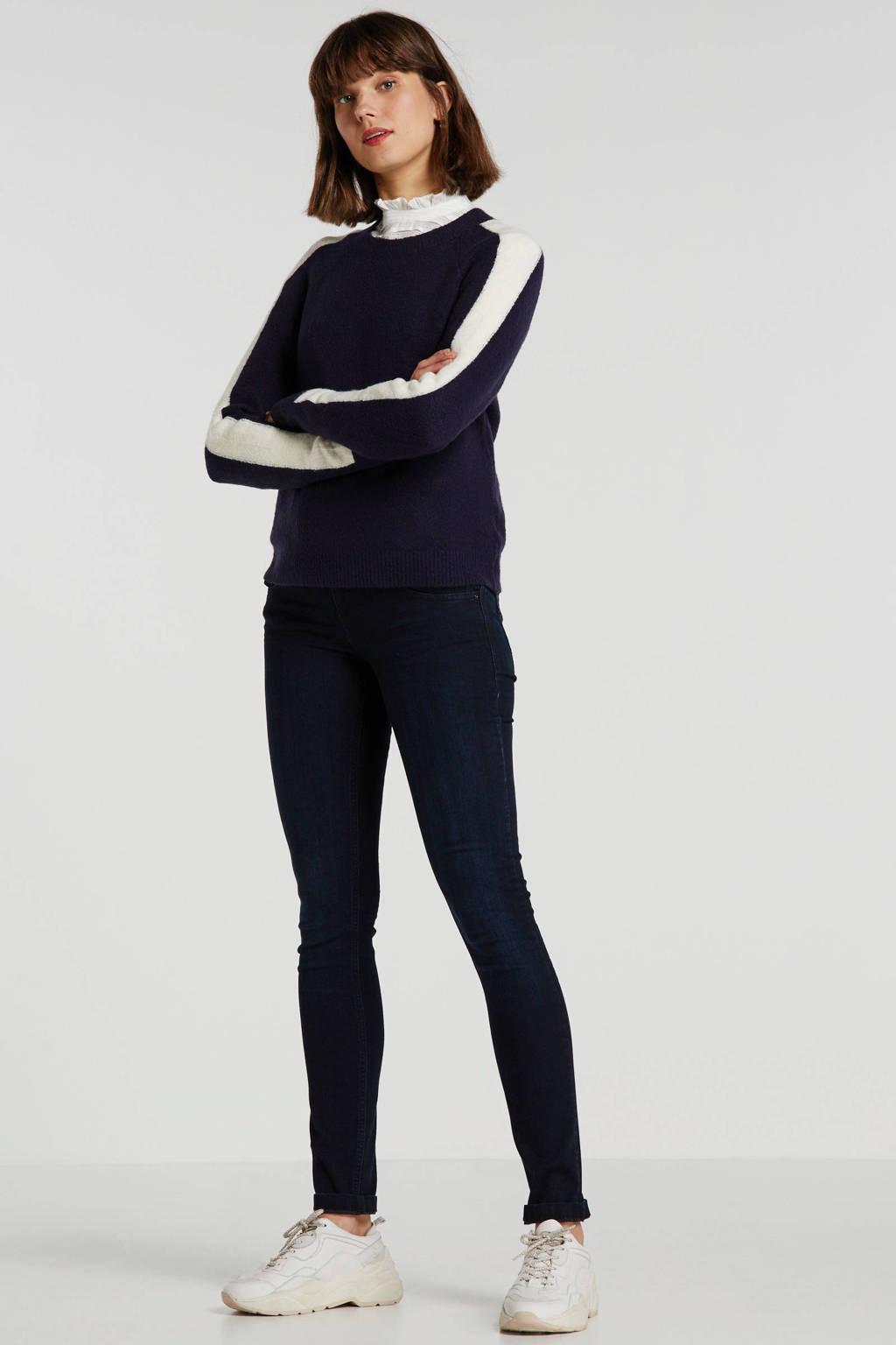 JACQUELINE DE YONG trui met contrastbies donkerblauw, Donkerblauw