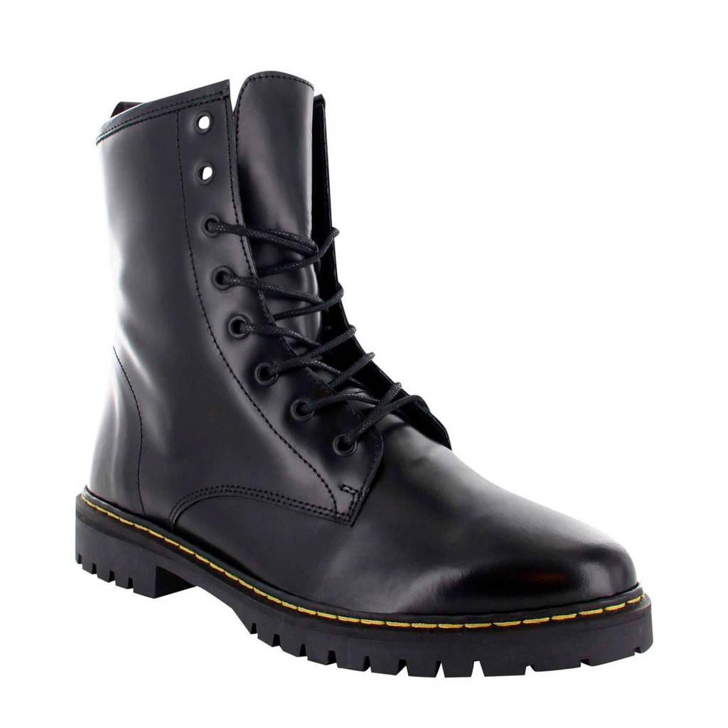 Tango Shoes Bee 81-A leren veterboots zwart, Zwart