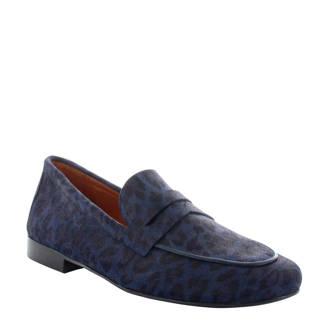 Pleun loafers met panterprint blauw