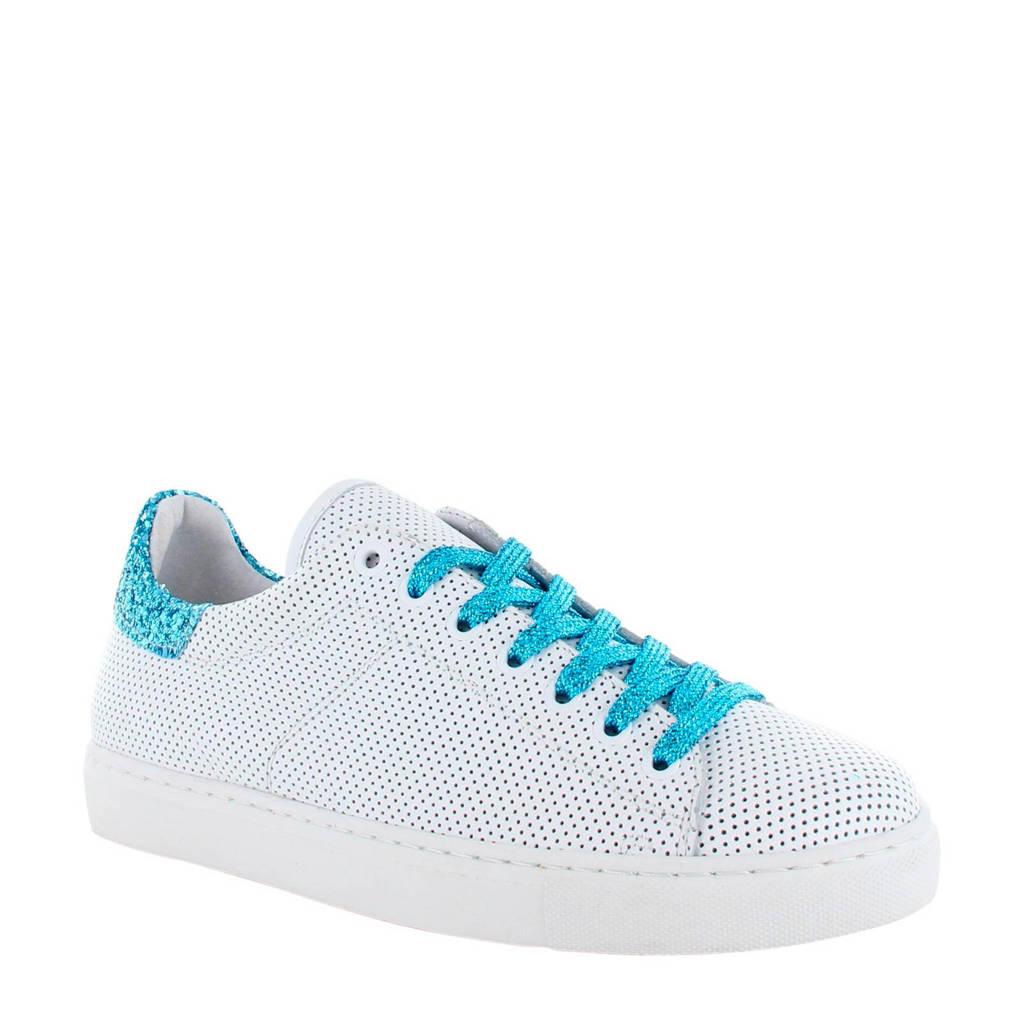 Tango Shoes Moniek 12-B leren sneakers wit/blauw, Wit/blauw