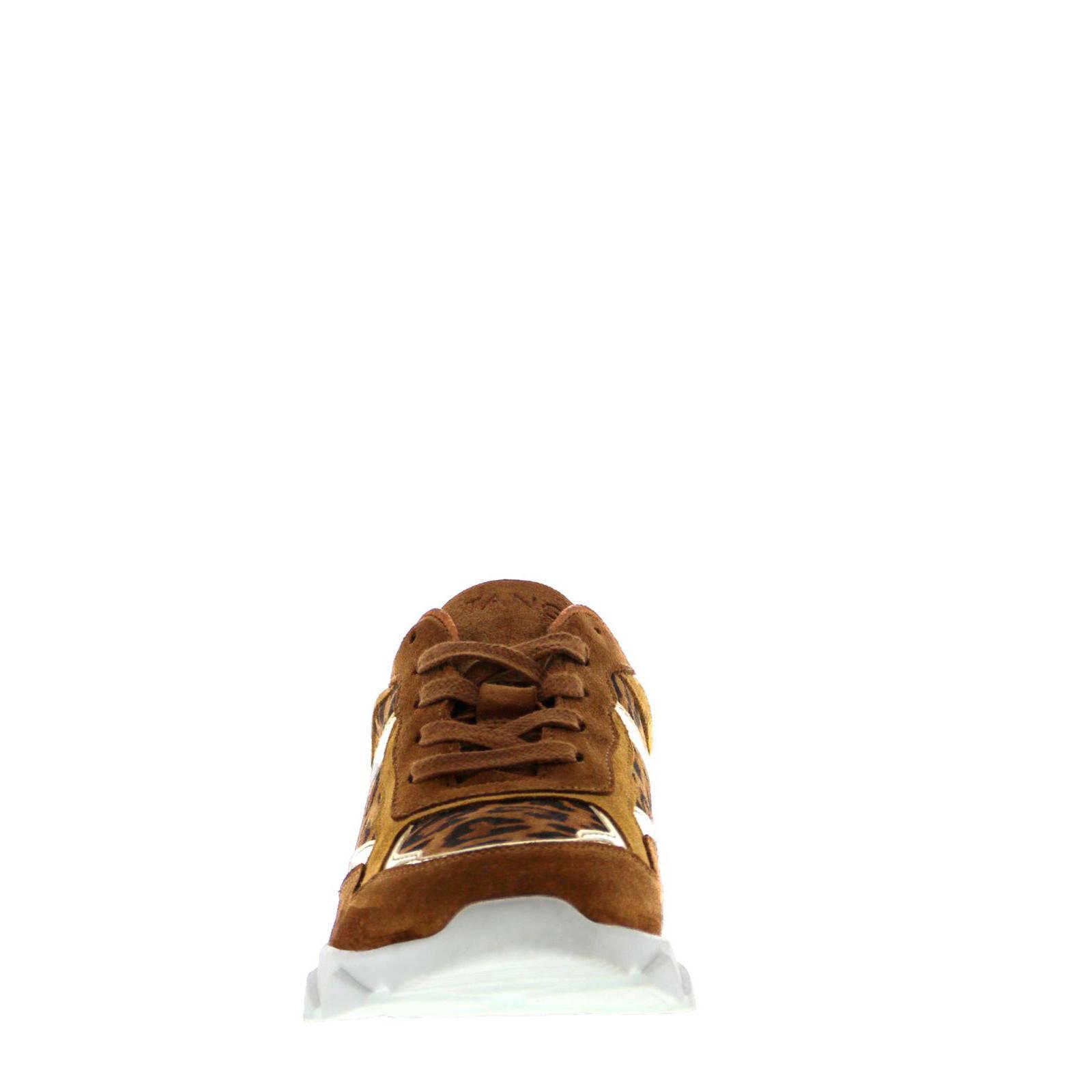 Tango Shoes Kady 1 H suède sneakers panterprint bruin | wehkamp