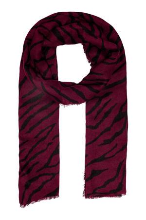 sjaal met tijgerprint bordeaux