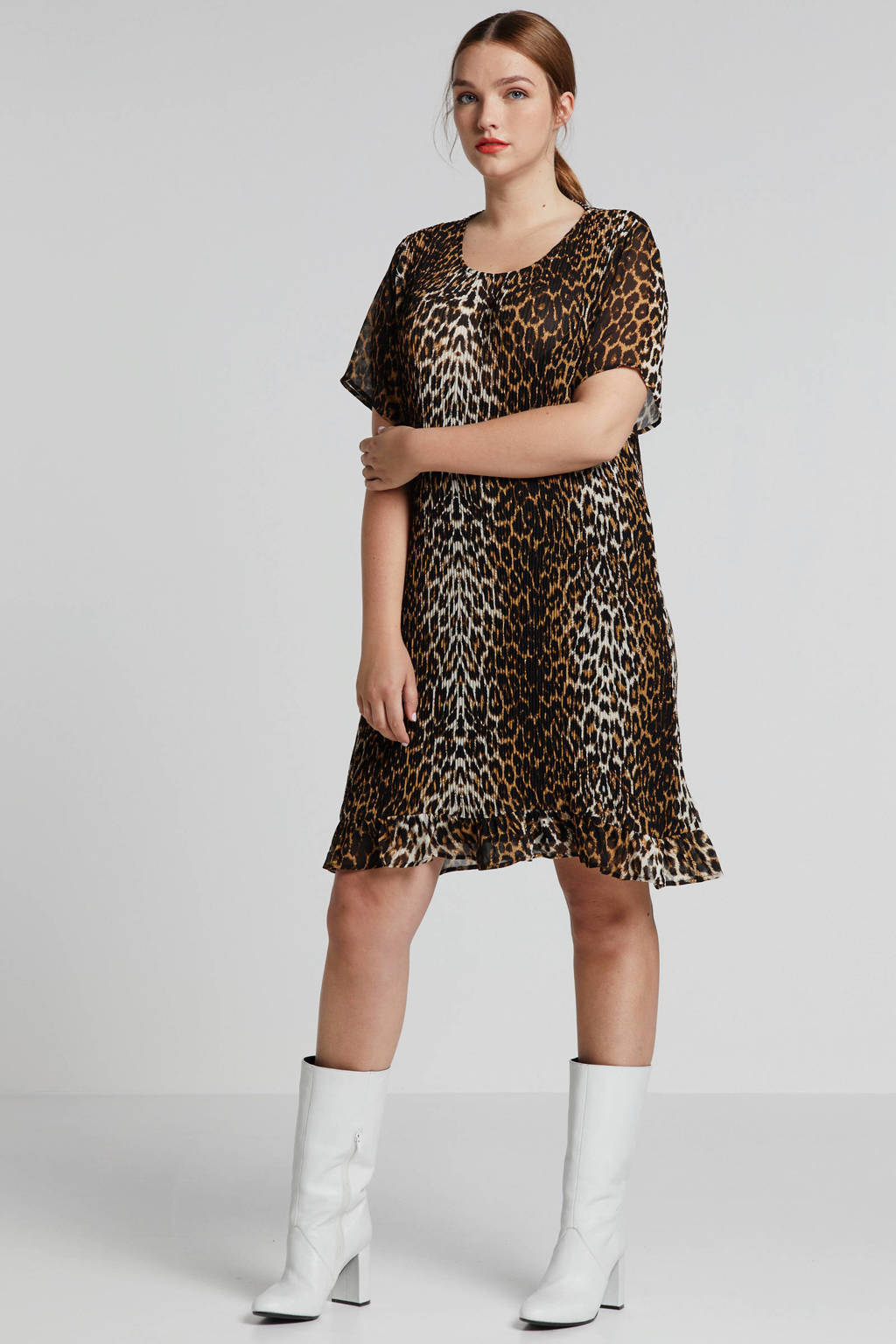 Zizzi jurk Pernille met panterprint, Bruin/zwart/beige