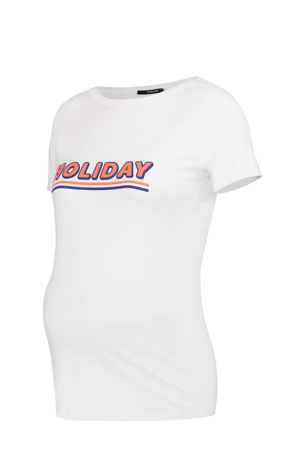 Supermom zwangerschap T-shirt met tekst zwart, Wit