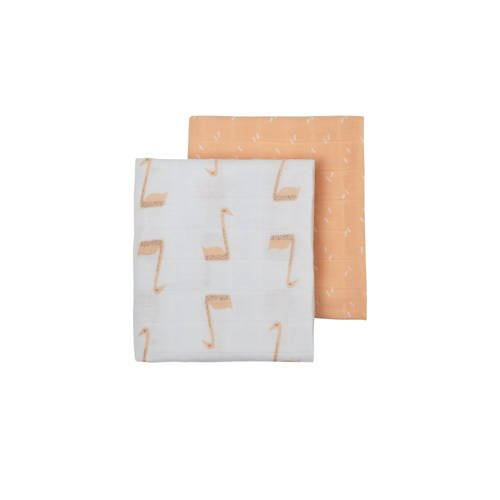 Fresk hydrofiele luier 60x70 cm (set van 2) wit-lichtroze