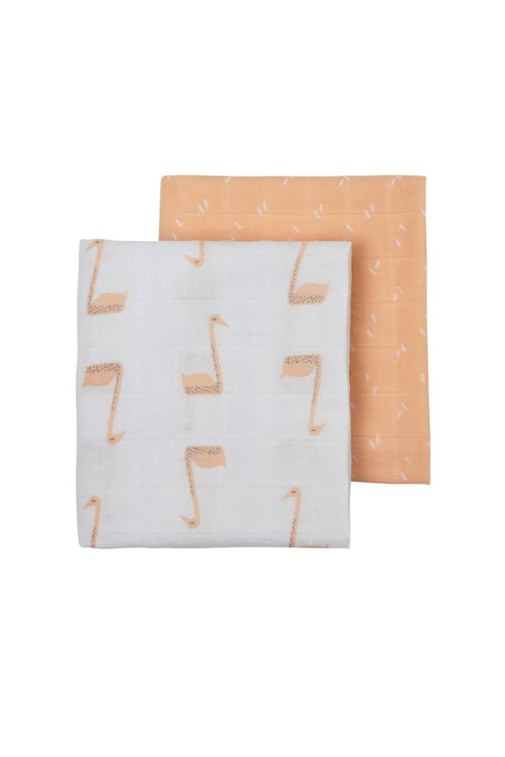 Fresk hydrofiele luier 60x70 cm (set van 2) wit/lichtroze, Wit/lichtroze