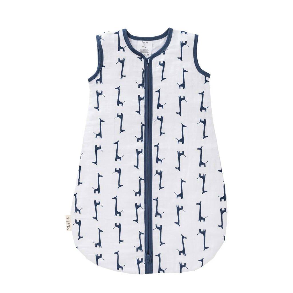 Fresk baby slaapzak muslin 2-laags giraf blauw, Wit/donkerblauw