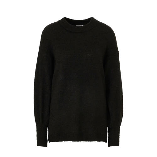 ICHI fijngebreide trui Amara met wol zwart