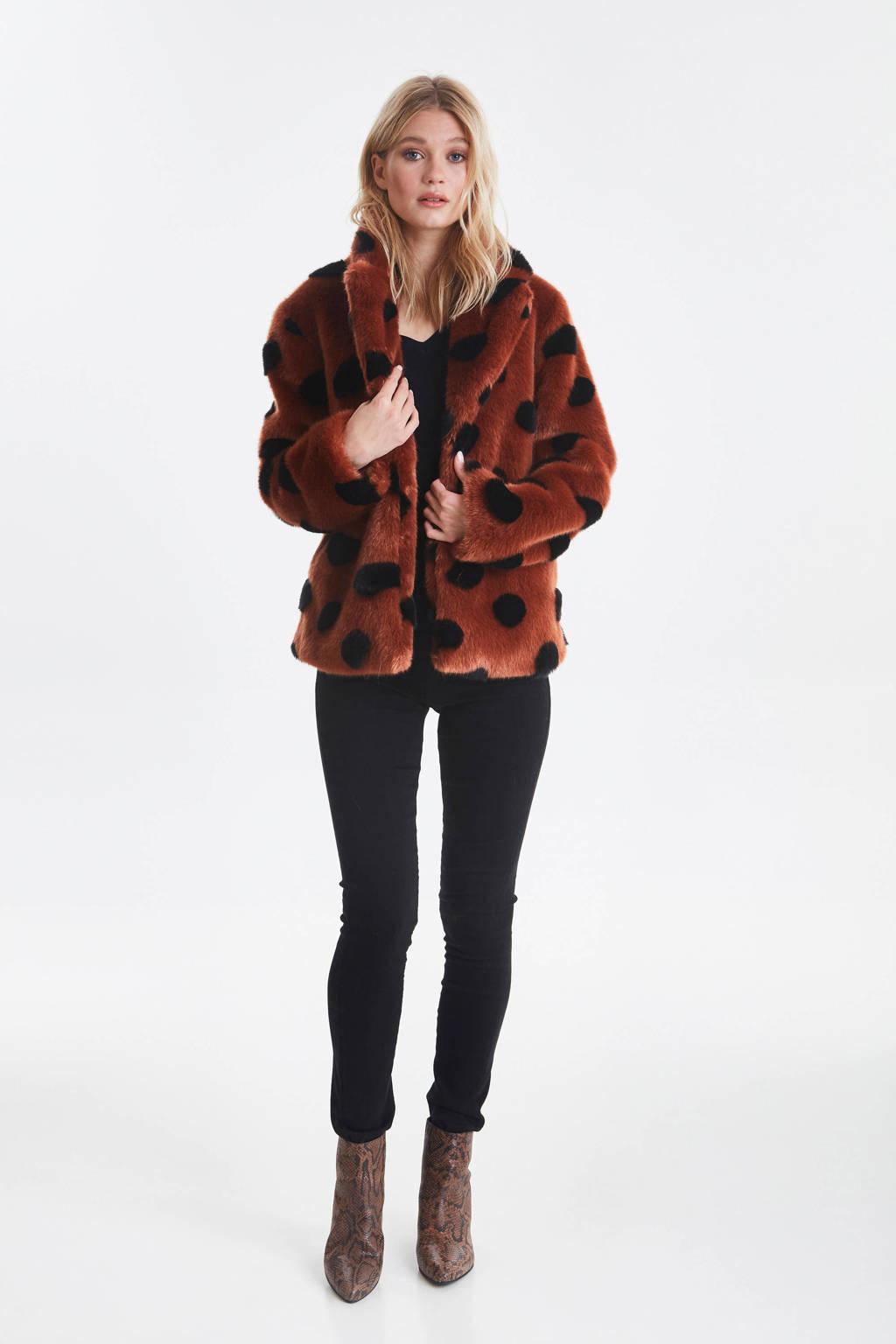 ICHI imitatiebont coat met stippen roodbruin, Roodbruin