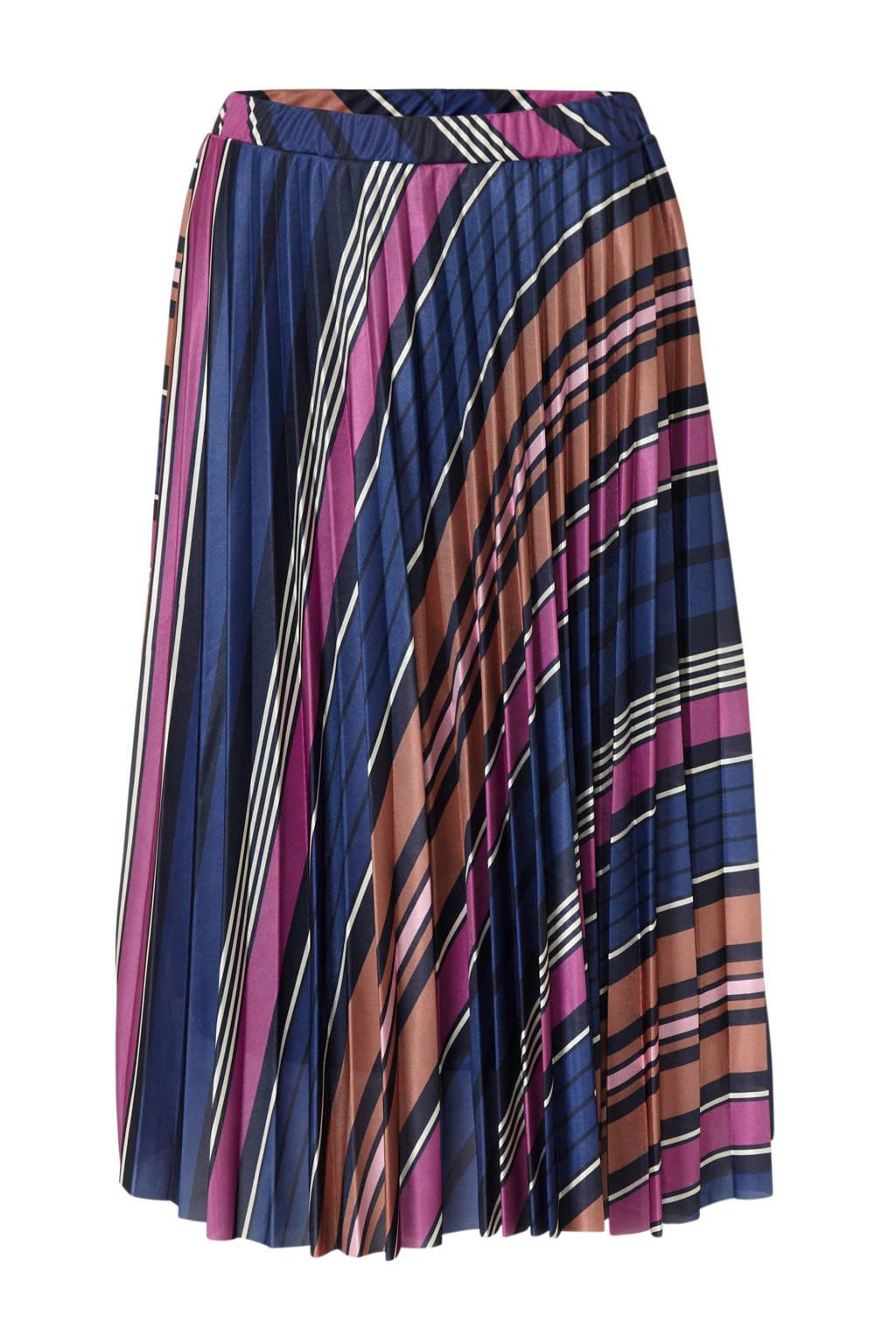 Soaked In Luxury gestreepte plissé rok Pippa donkerblauw multi, Donkerblauw multi