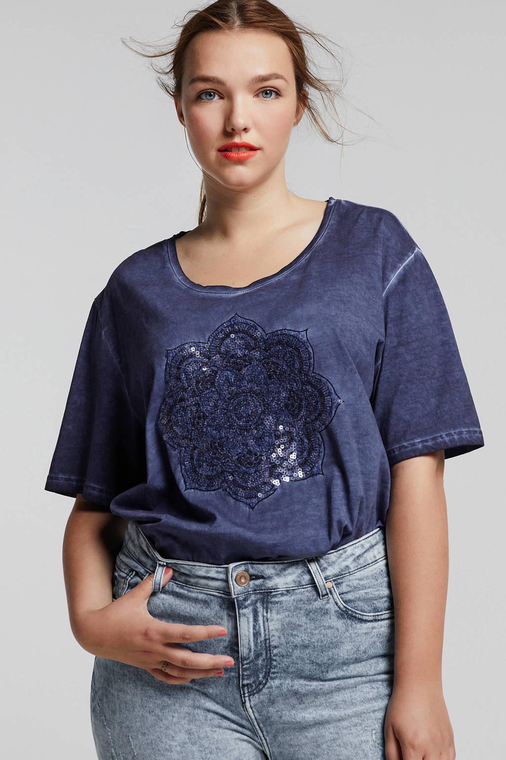 1baba18e42e Ulla Popken T-shirt met glitters donkerblauw, Donkerblauw