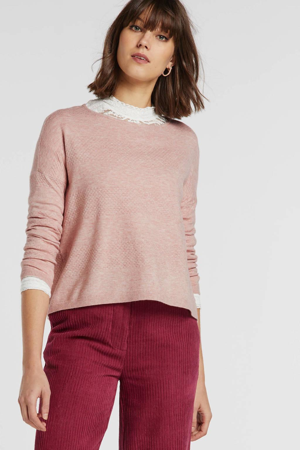 ONLY fijngebreide trui roze, Roze