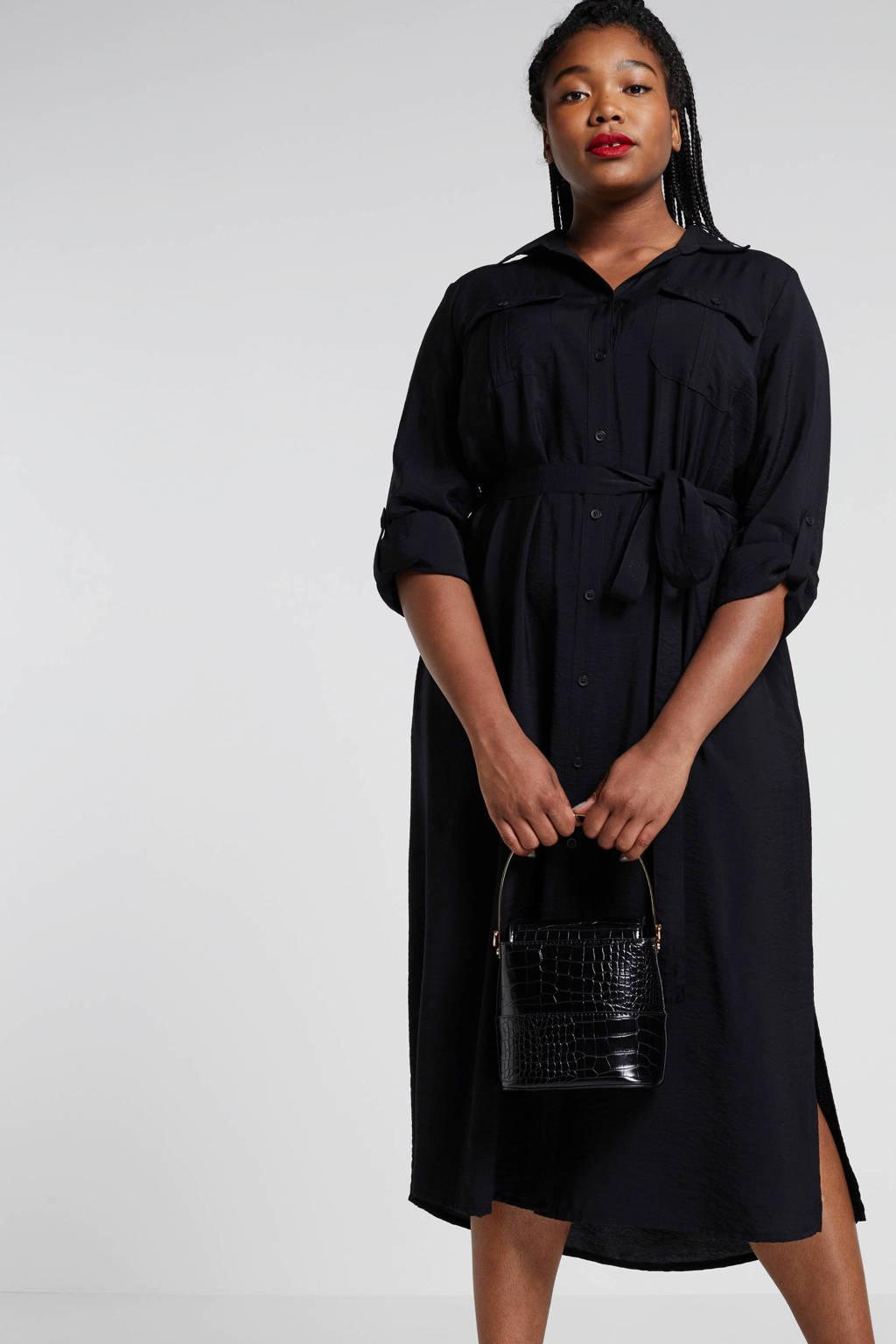 Ulla Popken blousejurk met strikceintuur zwart, Zwart