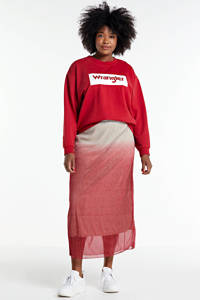 Wrangler Plus sweater met logo rood/wit, Rood/wit