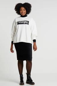 Wrangler Plus sweater met logo wit/zwart, Wit/zwart