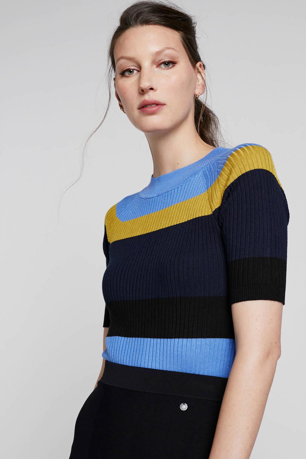 NÜMPH gestreepte top Alexene zwart/blauw/geel, Zwart/blauw/geel